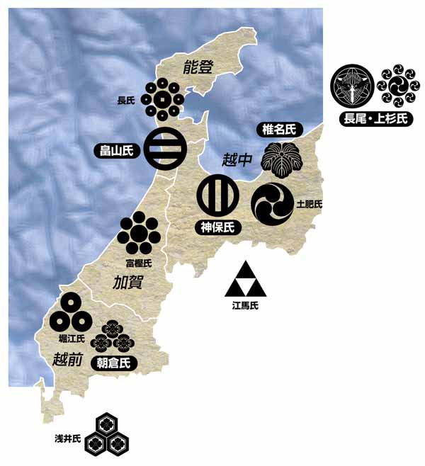 武将-家紋地図_北陸