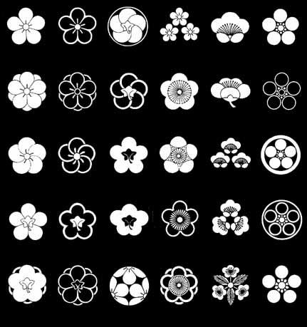 家紋図鑑_梅 ひとえ梅 中かげ梅 糸輪にねじ梅 三つ盛梅 匂い梅 梅鉢 八重梅 かげ八重梅 ねじ